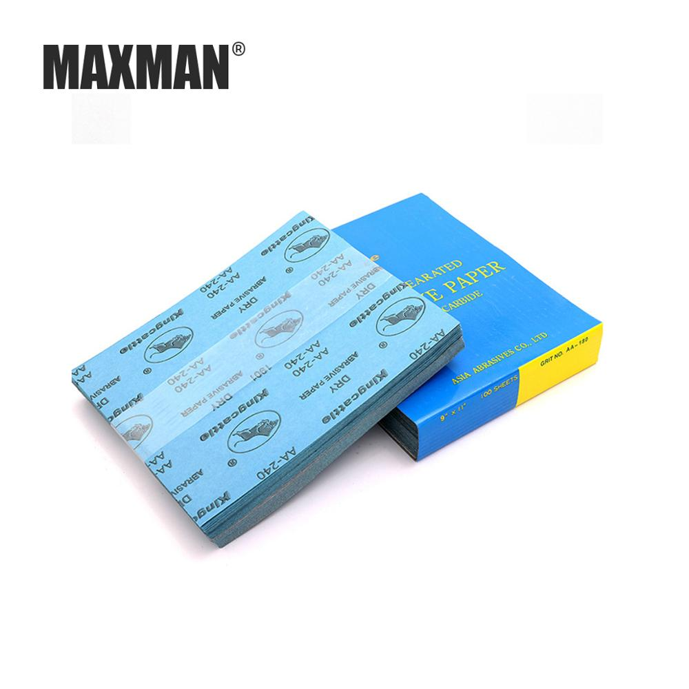 MAXMAN 5Pcs Grit 120-1000 Dry Polishing Sanding Dry Abrasive Sandpaper Anti-clogging White Coated Sandpaper