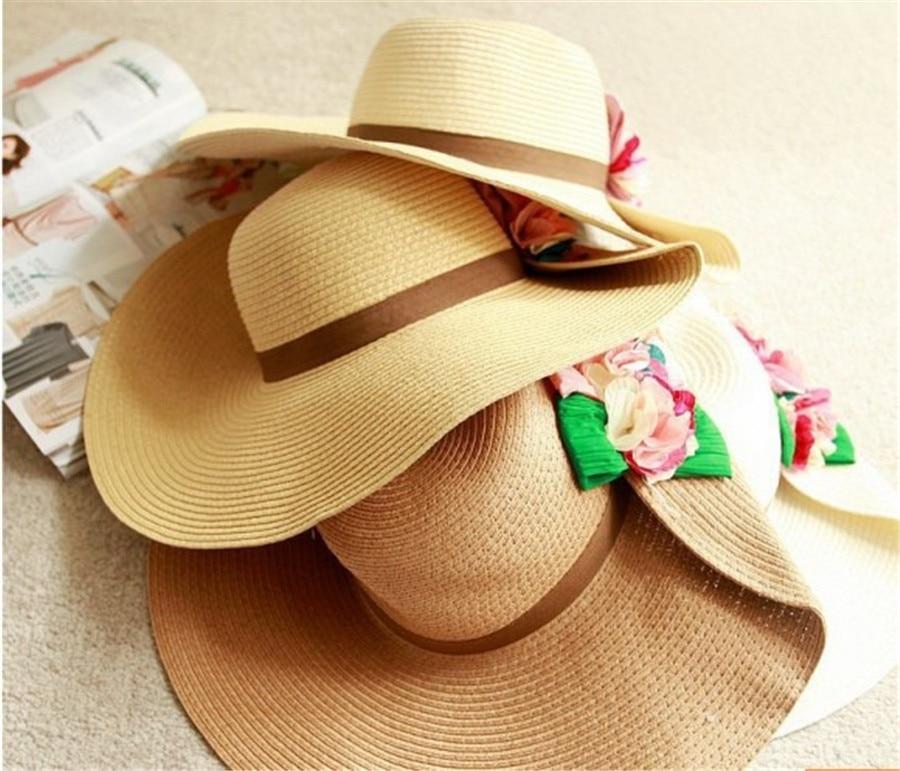 2016 Busana Pantai Topi Jerami Wanita Musim Panas Jerami Topi Wanita Lipat  Lebar Besar Brim Floppy Sun Hat di Topi Matahari Topi dari Aksesoris  Pakaian ... a7cfc39e88