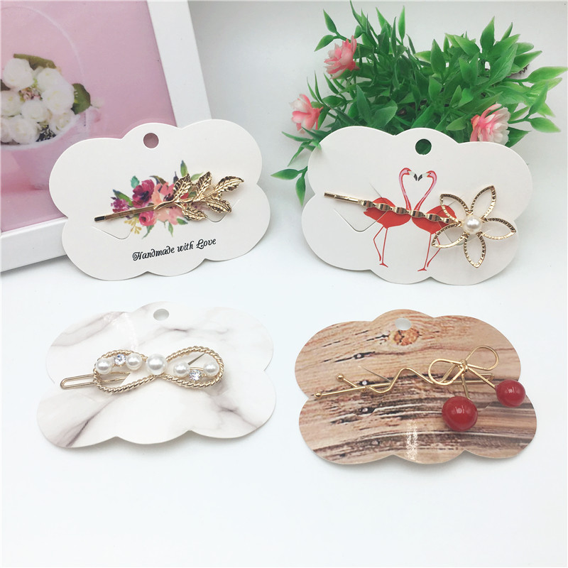 48Pcs Paper Vomen Hair Accessory Hairpin Packing Cards Hair Clip Displays Card 6.5*9cm Paper Jewelry Hang Price Tag Cards