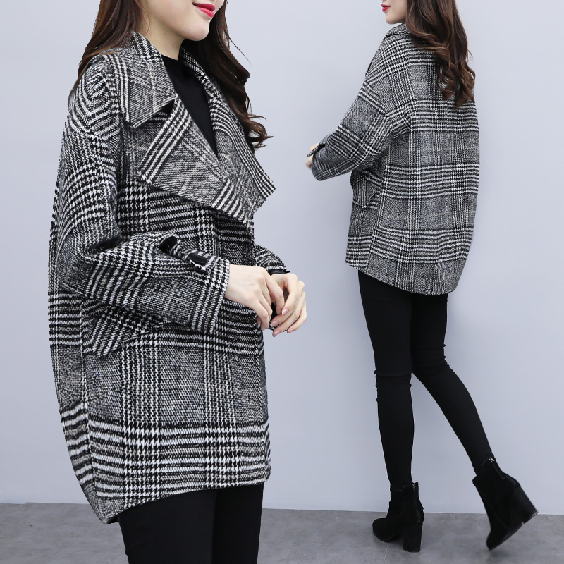 2019 Spring Autumn Women Woolen Coat Korean Houndstooth Outerwear Fashion Plaid Women Wool Jacket Loose Plus