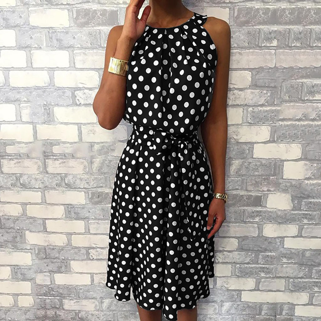 Women Dress  Behomian Fashion Polka Dot Sleeveless Dresses Off Shoulder Casual Loose Dress Платье