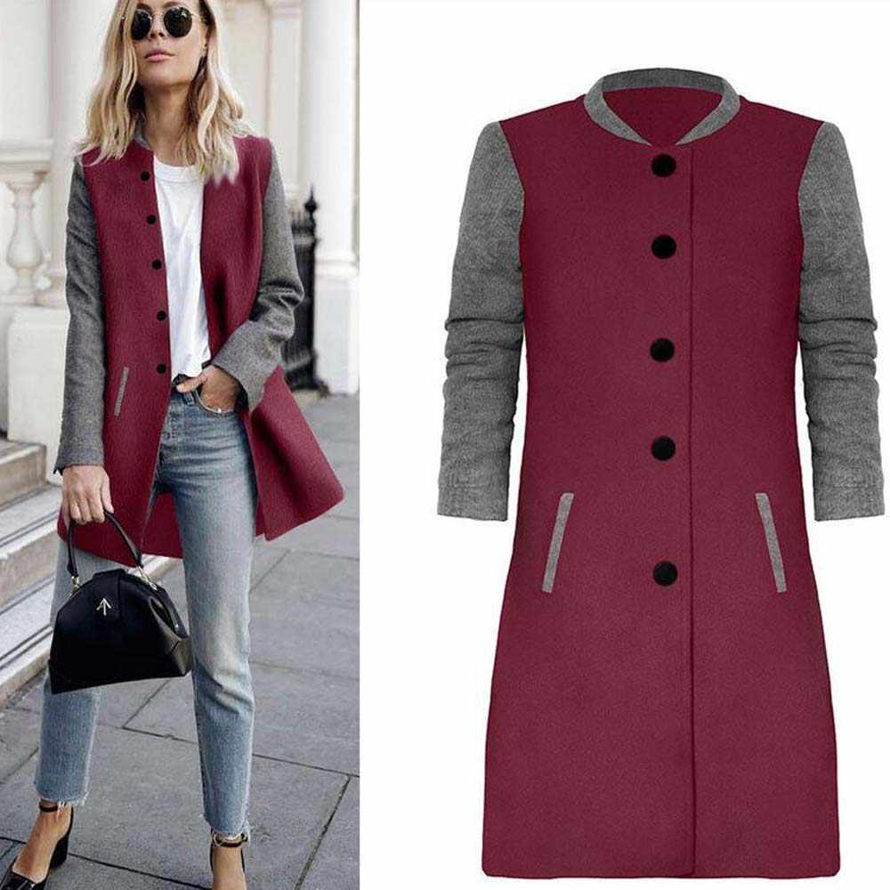 Autumn Long Sleeve Woolen Coat Women Stand Collar Button Pocket Overcoat Female Casual Long Jacket Coat Outwear Patchwork Tops