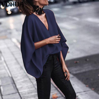 VONDA Women Sexy V Neck Long Sleeve Blouse Shirts 2019 Spring Autumn Tops Casual Loose Blusas OL Shirt Plus Size 5XL 4