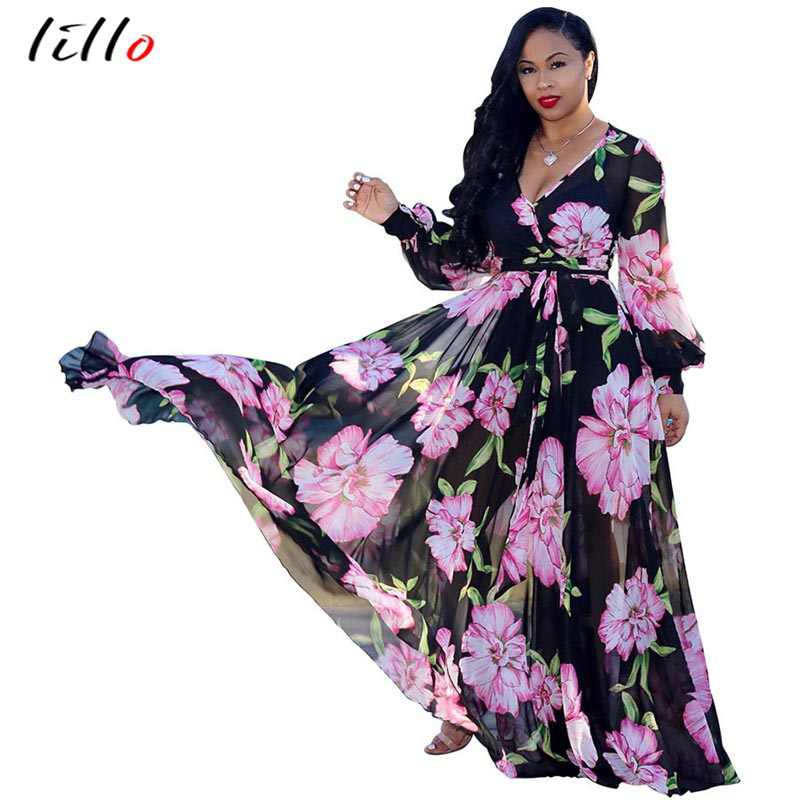 c956d8cf35a2 Plus size 2018 summer chiffon dress digital print fashion style big swing  dress women's clothing loose