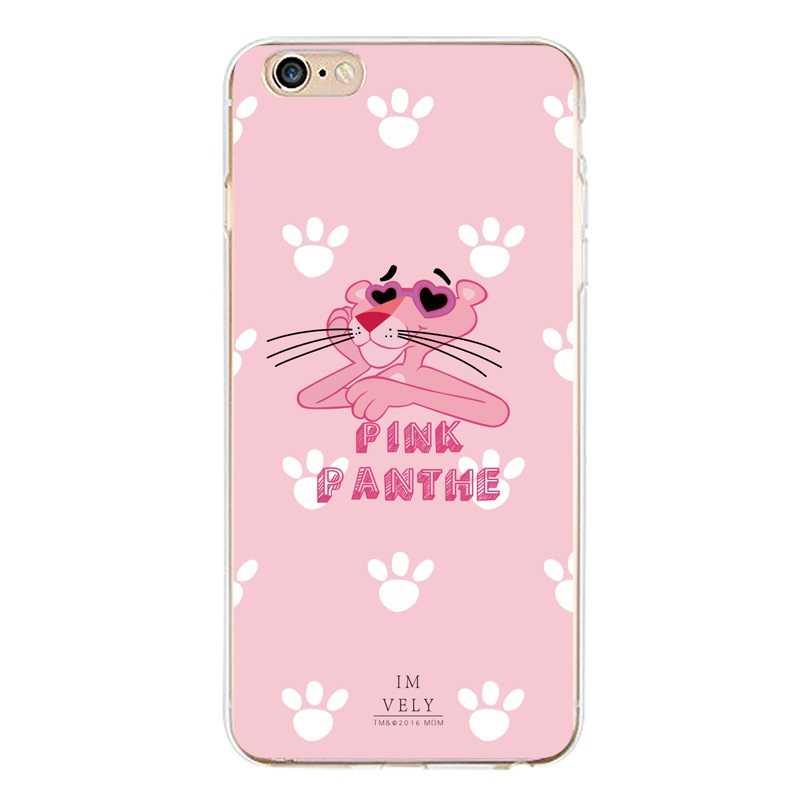 Veer Soft Clear TPU Telefoon Case Voor iPhone 4/4 s 5 5 s 6 6 plus 7 8 plus Voor iPhone x Siliconen Roze Panther Cover Gratis Verzending