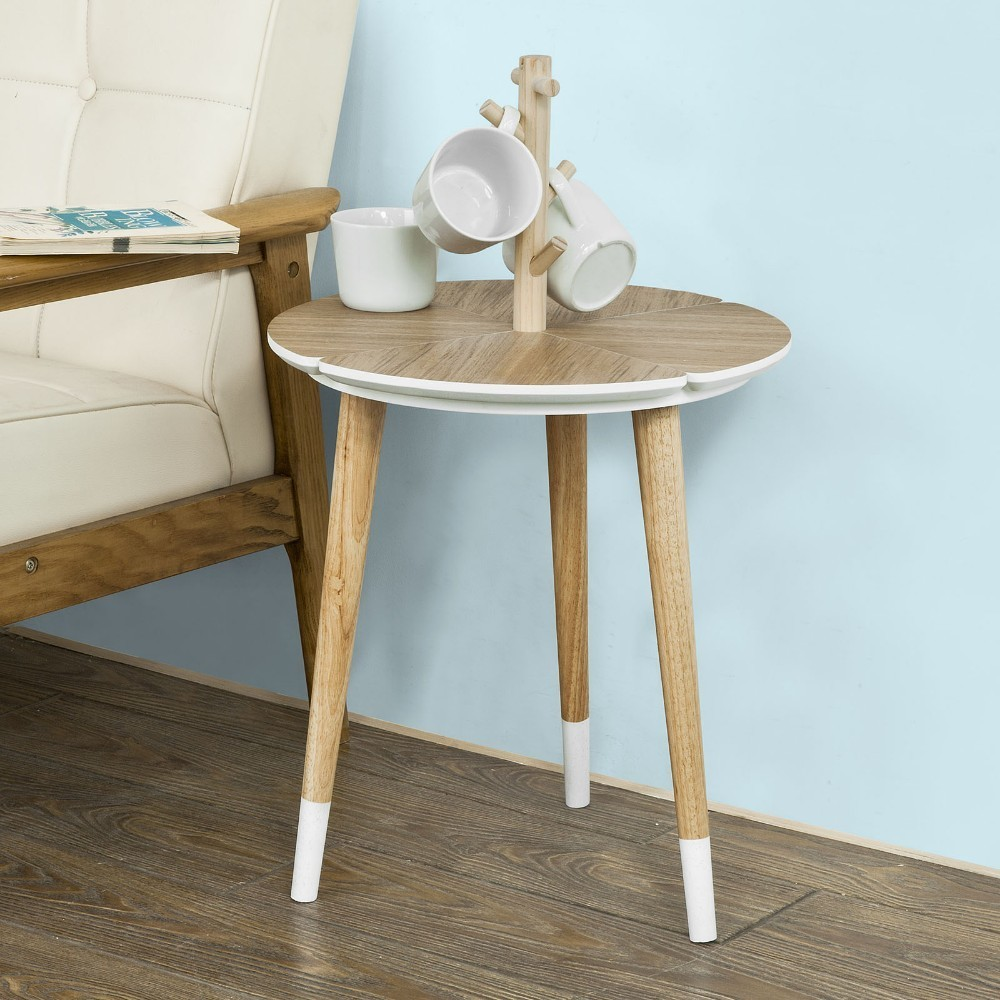 SoBuy FBT38-WN, Round Wooden Side Table, Tea Coffee Table, End Table with 5 Cup Holders