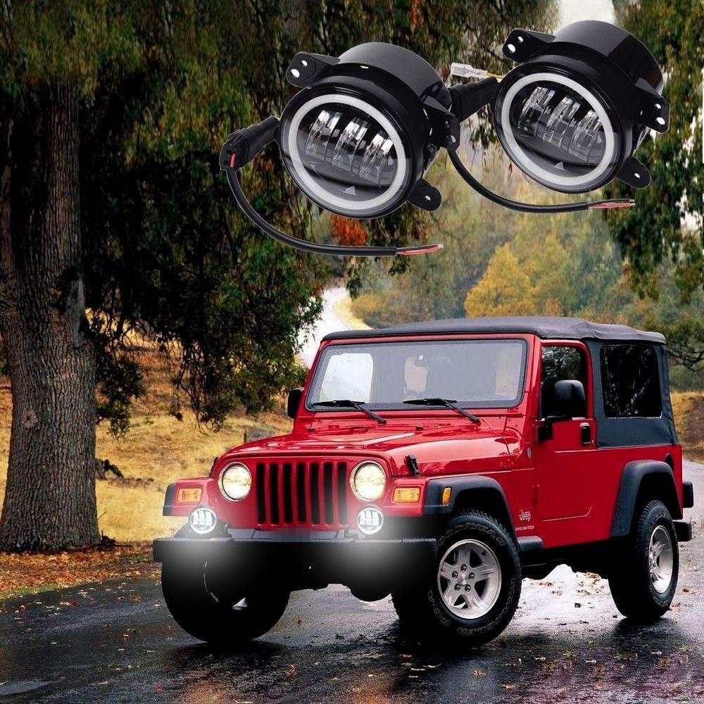 4inch Fog Lamps For Jeep Wrangler JK LED Fog Light 2pc Kit with Halo White DRL + Amber Turn Signal
