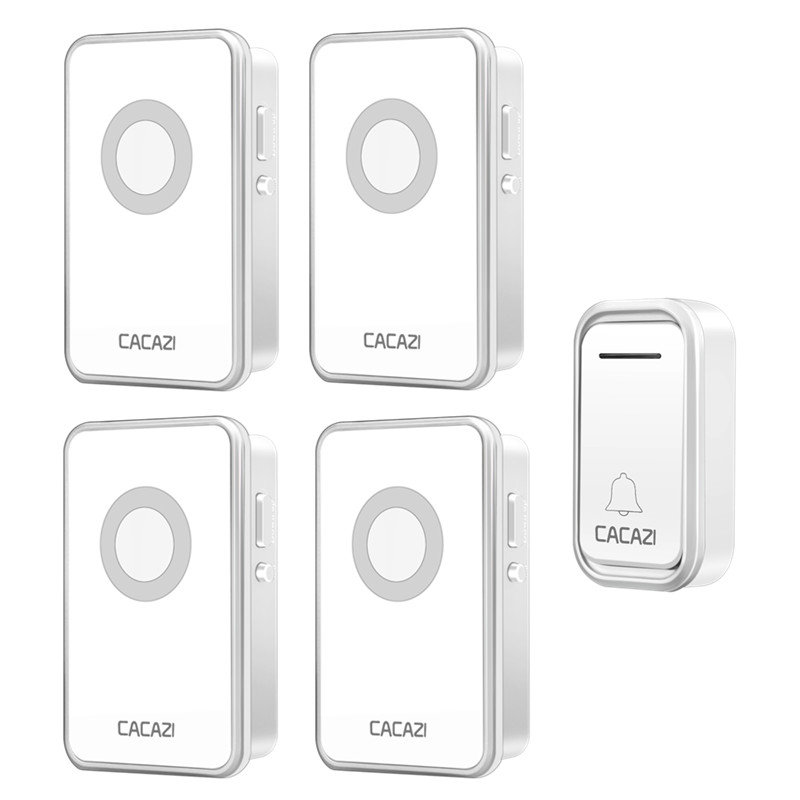 CACAZI Wireless DoorBell Waterproof 300M Remote Battery Button Operated Smart Home Calling Bell 38 Rings 3 Volume AC US EU PlugCACAZI Wireless DoorBell Waterproof 300M Remote Battery Button Operated Smart Home Calling Bell 38 Rings 3 Volume AC US EU Plug