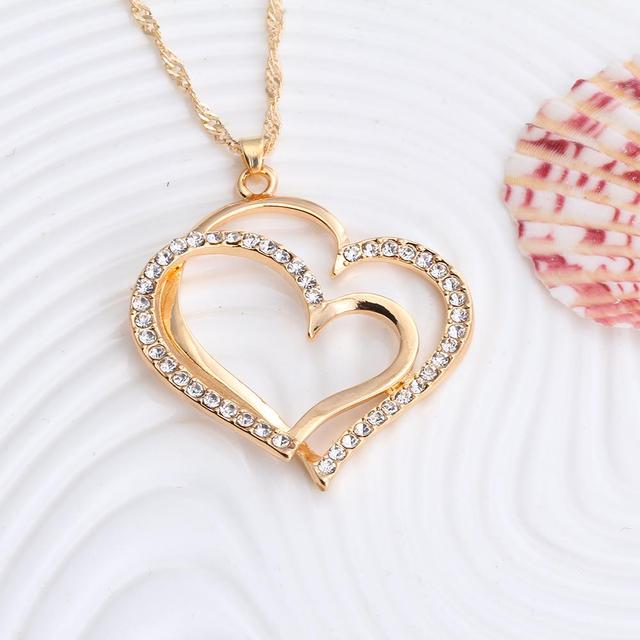 Romantic Heart Shape Pendant Jewelry Set of Earrings and Necklace
