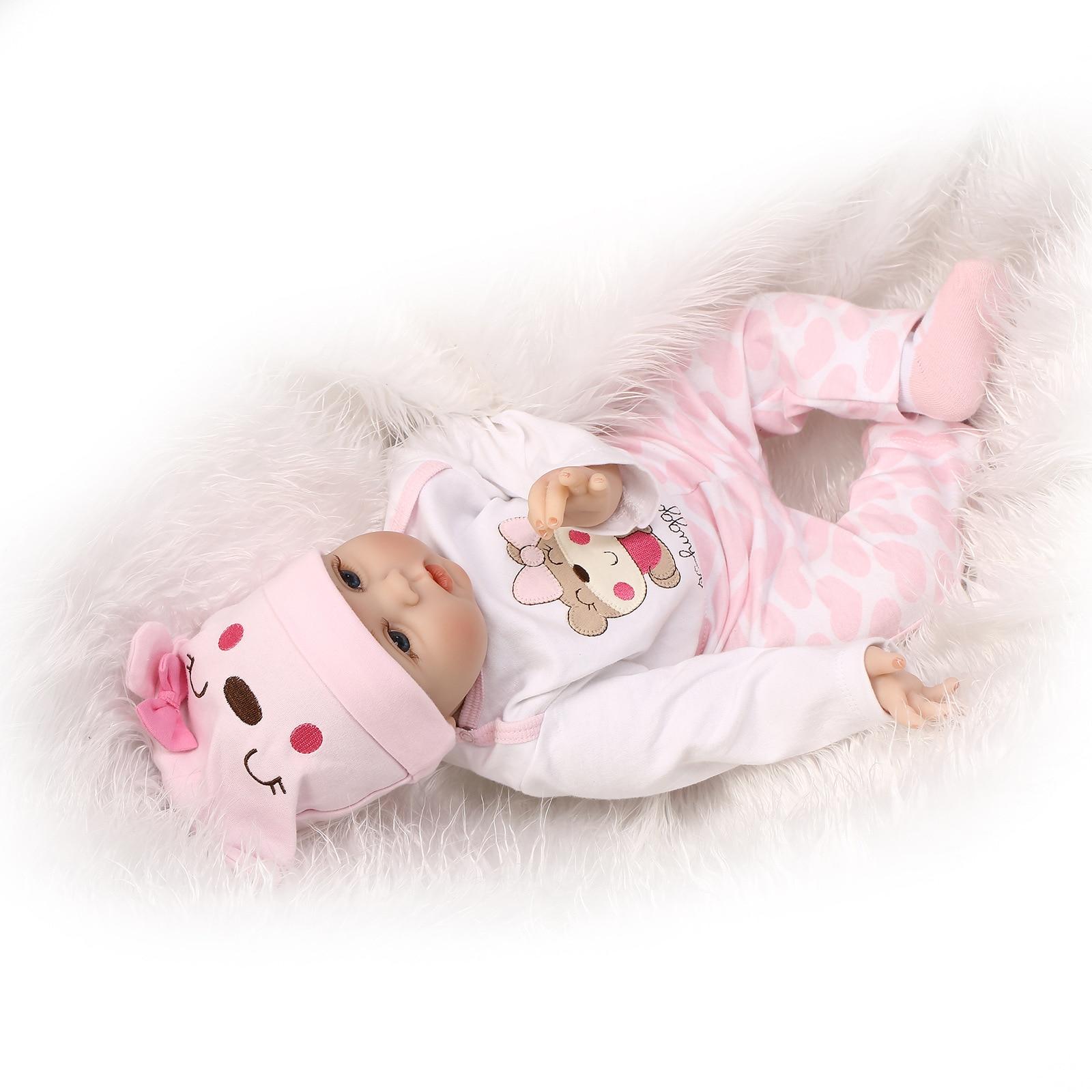 Vinilo de Silicona Suave 55 cm Reborn Baby Girl Doll Appease Muñecas - Muñecas y accesorios - foto 6