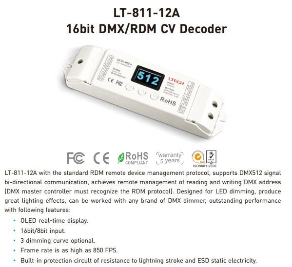 2017 New LT-811-12A 1CH DMX RDM CV Decoder 16bit/8bit input DC12V 12A*1CH+0-10V*1CH+10V PWM*1CH ouput DMX Decoder