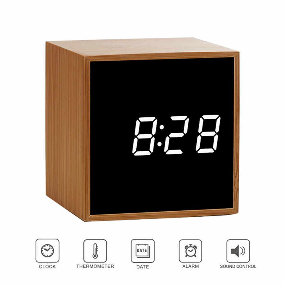 Reloj despertador de arte espejo reloj Digital LED de escritorio de oficina Control acústico reloj personalizado reloj silencioso reloj electrónico