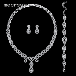 Mecresh 3Pcs/Set Luxury CZ Wedding Jewelry Sets Silver Color Crystal Heart Necklace Sets Bridal Bridesmaid Jewelry MTL484+SL022
