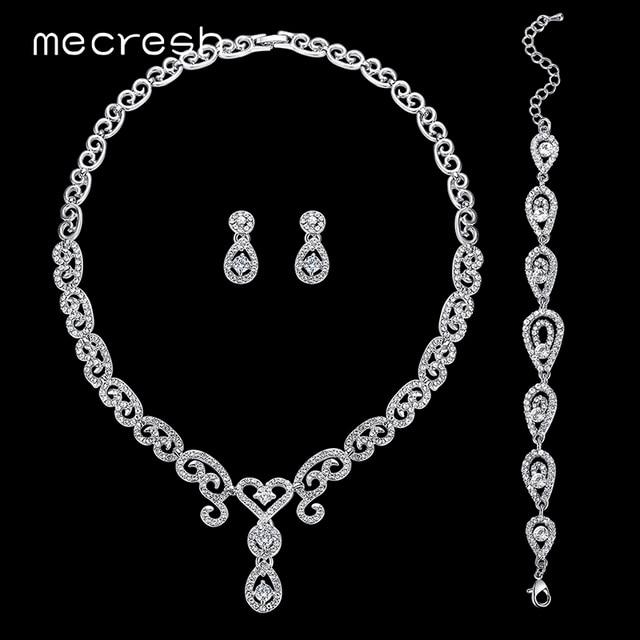 Mecresh 3pcs Set Luxury Cz Wedding Jewelry Sets Silver Color Crystal Heart Necklace Bridal