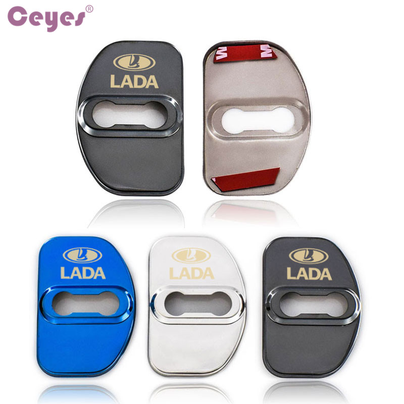 Image 4 - Ceyes Car Styling Auto Door Lock Covers Case For Lada Vesta SW Xray Cross Car Badge Accessories Stainless Steel Car Styling 4pcs-in Car Stickers from Automobiles & Motorcycles