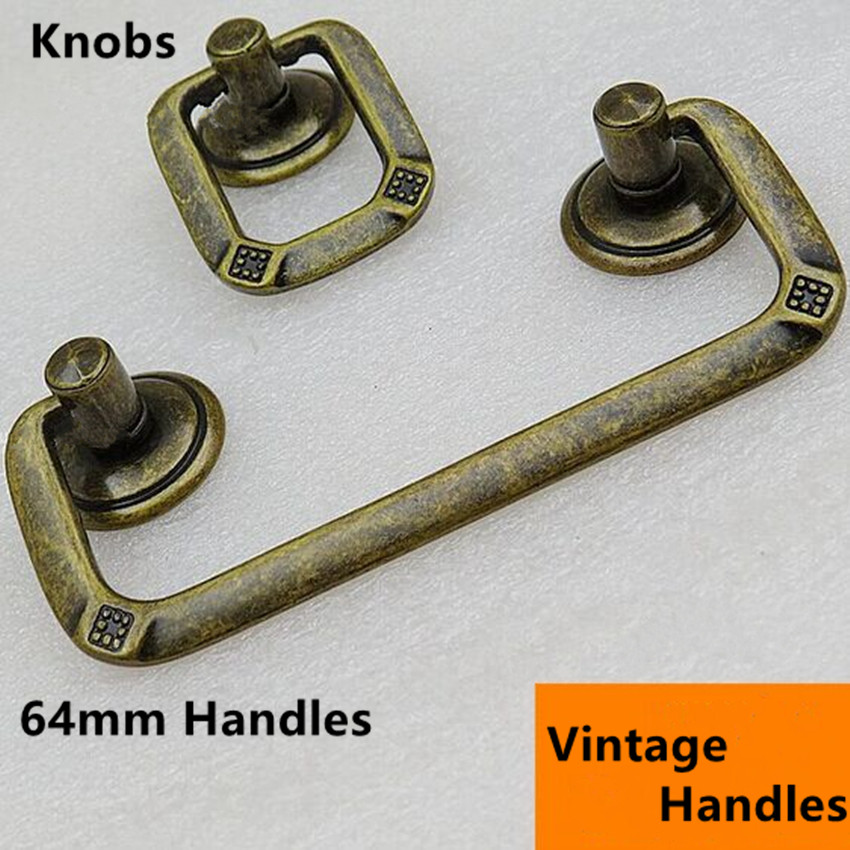 64mm Bronze drop rings knob antique brass drawer cabinet knob pull handle vintage dresser handle pull retro furniture knobs 2.5 5 vintage rhinestone dresser kitchen cabinet door handle pull glass crystal antique bronze drawer cupboard knob pull 128mm 96mm