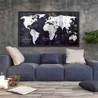 Blank and White World Map Vintage Poster Bar Pub Cafe Wall Sticker Elaborate Design High-End Print Canvas Painting