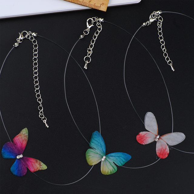 Crazy Feng 2018 New Elegant Crystal Colorful 3D Butterfly Chokers Necklace Invisible Fish line Silk Necklaces For Women Gift