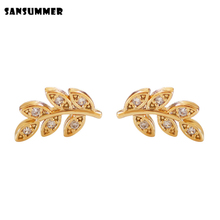 SANSUMMER New Fashion Special Design Metal Cubic Zirconia Leaves Elegant Geometric Woman Jewelry High Quality Accessory 3333