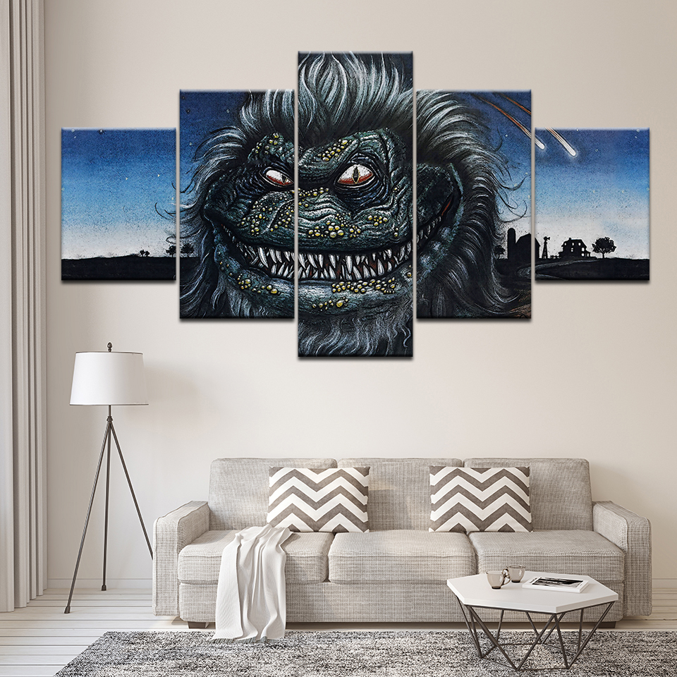 5 Pieces Hd Printed Painting Horror Critters Canvas Wall