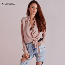 Fashion Autumn Women Blouses Satin Long Sleeve Ladies Lace Up Shirt Women Sexy V-neck Casual OL Tops Elegant Pink Blouse Blusas