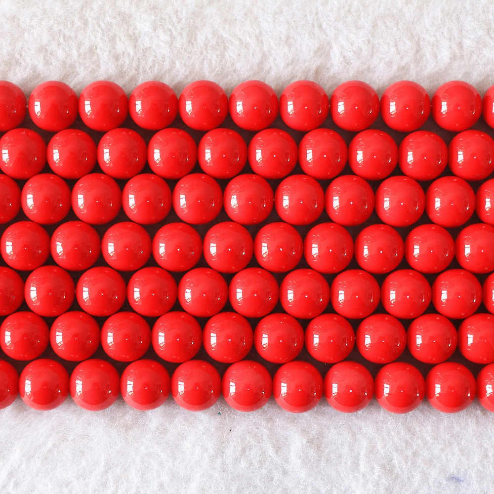 Charming red artificial coral 6mm 8mm 10mm 12mm 14mm round jewelry loose beads high quality wholesale price 15inch B604