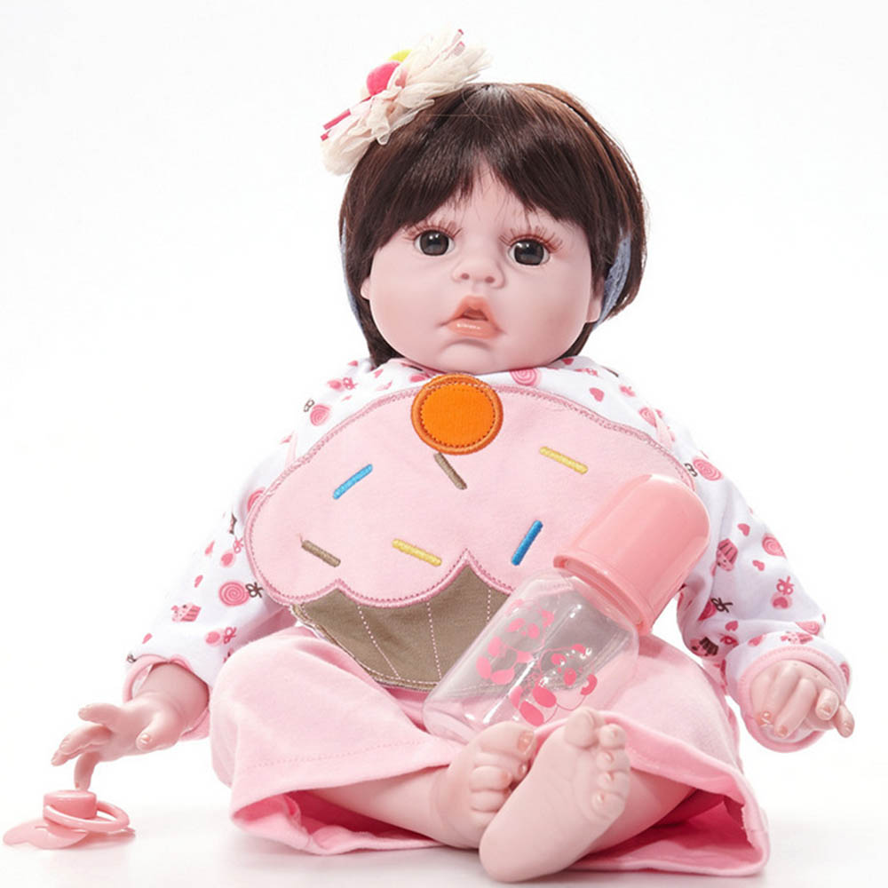 20 inches Lovely Newborn Girl Doll Silicone Soft Realistic Baby Reborn Dolls with Cloth Body Toy for Kids Birthday Xmas Gift 22 inches soft silicone reborn baby dolls cloth body real looking newborn alive girl babies boneca toy kids birthday xmas gift