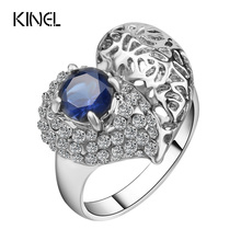 Kinel Fashion Love Heart Rings For Women Color Silver Mosaic White Crystal Vintage Jewelry Free Shipping