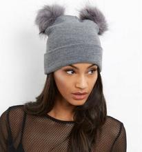2019 beanie two faux fur pompom winter hat double fake pom ball knit female cap ski bonnet
