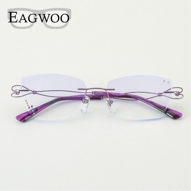 4d2ba4600e Titanium Eyeglasses Women Rimless Prescription Reading Myopia Progressive  Glasses Cat Eye Desgined Spectacle 82064