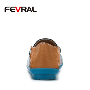 Image 3 - FEVRAL Women Casual Shoes Genuine Leather Boat Comfortable Soft Gommino Flat Ventilation Fashion Printing Shoes Woman 4 Color
