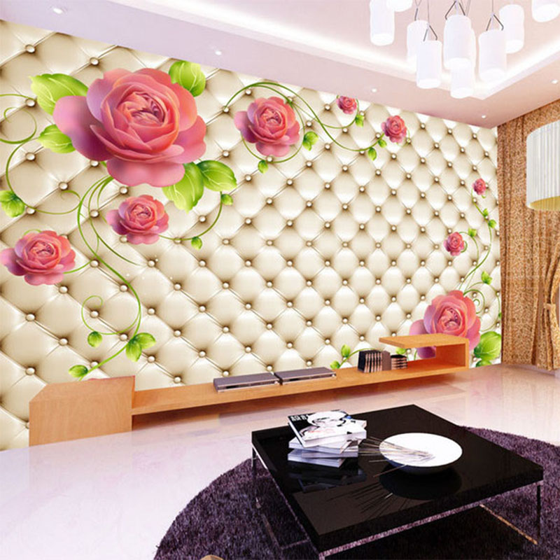 Papel De Parede Floral 3D Stereo Relief Flower Soft Pack Mural Wallpaper Living Room Bedroom Home Decor Modern 3D Wall Painting
