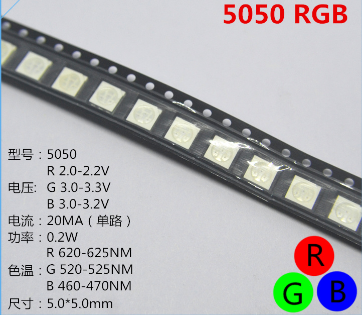 Active Components Nice 50pcs Smd5050 Led Smd 5050 Rgb Chip Led Plcc-6 Tricolor Red Green Blue Led Light Emitting Diode Lamp Smt Beads Orders Are Welcome.