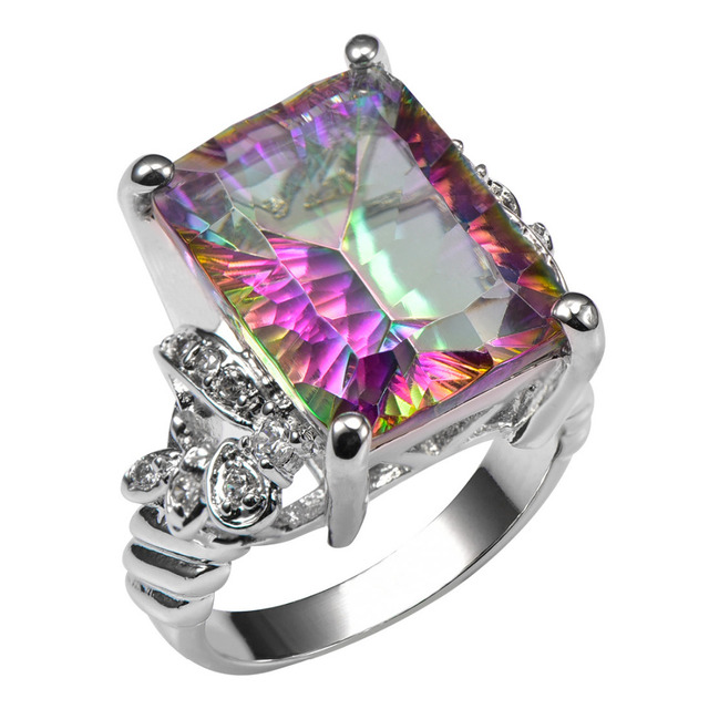 Luxury British Kate Engagement Wedding Rainbow Fire Mystic Topaz Ring Set Pure Solid Silver