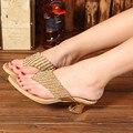 Flip-Flop de Cuero genuino Zapatos de Tacón Bajo Rhinestone de Plata Del Oro Del Talón Grueso Deslizadores Del Verano Más El Tamaño 12 Sandalias de Las Mujeres