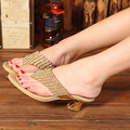 Genuine Leather Flip Flops Low Heel Silver Rhinestone Shoes Thick Heel Gold Summer Slippers Plus Size 12 Women Sandals