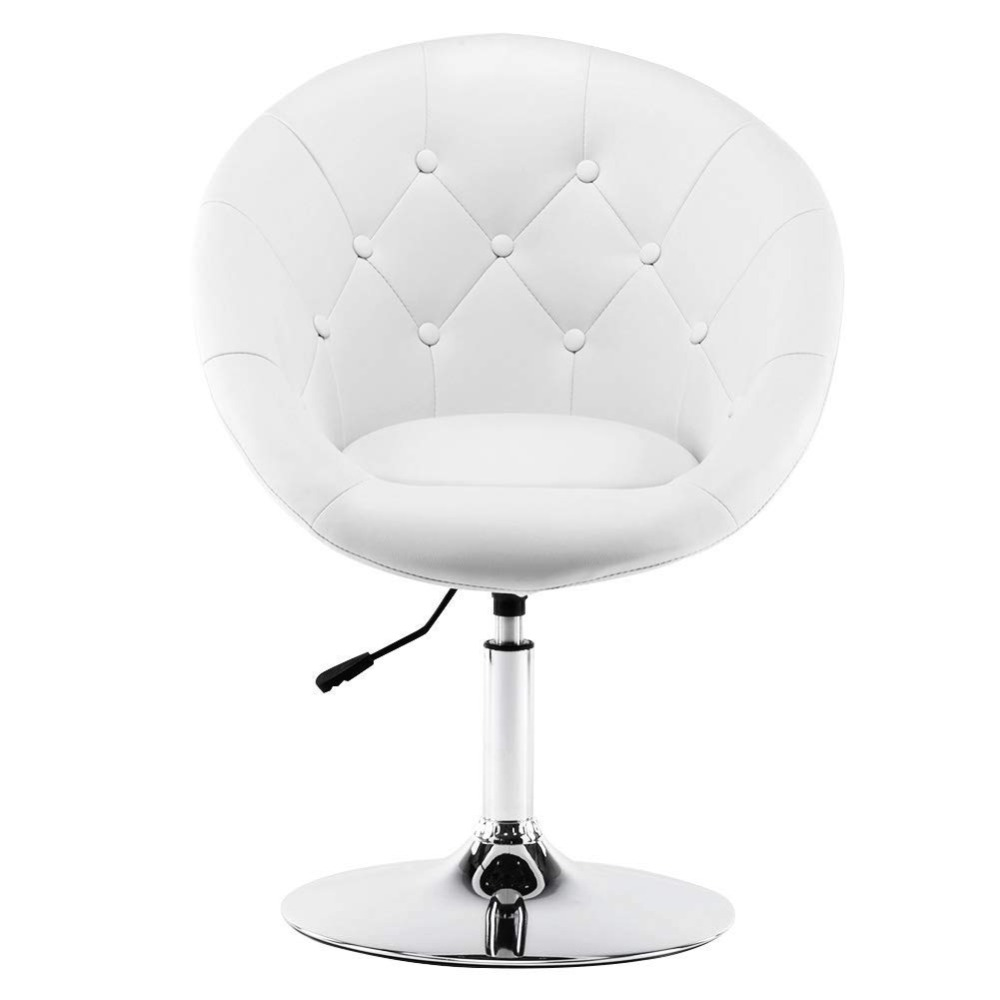 Wahson Tufted Round-Back Swivel Accent Chair Contemporary Adjustable Leather Chrome Vanity Chair Lounge Pub Bar Bedroom, White