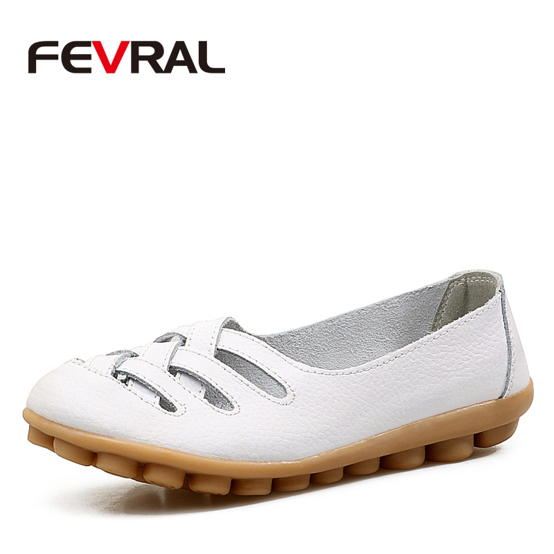 FEVRAL Woman's Shoes Cow Leather Flat With Superstar Big Size 35-42 Oxford Shoes Women Loafers 2018 Casual Shoe Summer Shoes