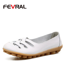FEVRAL Woman's Shoes Cow Leather Flat With Superstar Big Size 35-42 Oxford Shoes Women Loafers 2020 Casual Shoe Summer Shoes(China)