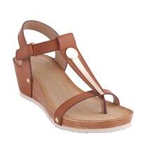 Heyiyi сандалии женщин платформа клин мягкая искусственная кожа летние сандалии большой размер металлические заклепки легкий camel toe ручка сандалии