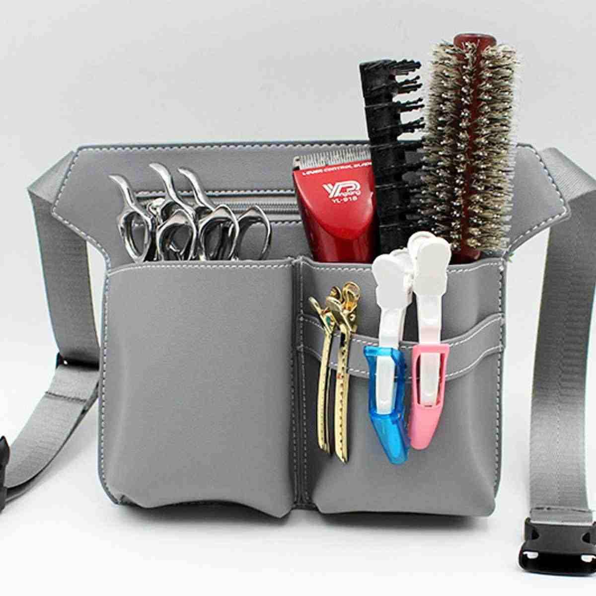 Cheveux ciseaux sac Clips peigne Case coiffure coiffeur cheveux ciseaux étui support de pochette outil Salon taille pack ceinture PU cuir sac