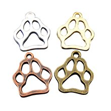 Wholesale 12pcs/Pack Private Design Mix Color Dog Puppy Footprint Charms Antique Tone Jewelry Making Finding Pendant GR-717(China)