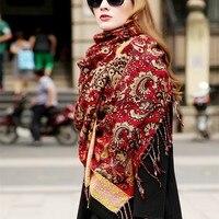 Spring Autumn Winter Ladies' Brand Wool Scarves Ethnic Style Colorful Long Shawl Woollen Pashmina Madam Oversize Shawl