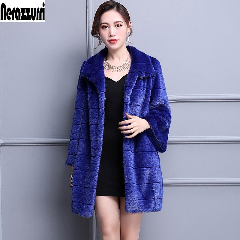 Manteau Longue Furry Veste 5xl La Imitation En Blue Faux Manteaux Couleur Nerazzurri Hiver Femmes 6xl Taille Fourrure 2017 Fausse De Plus Bleu wA0qgRp