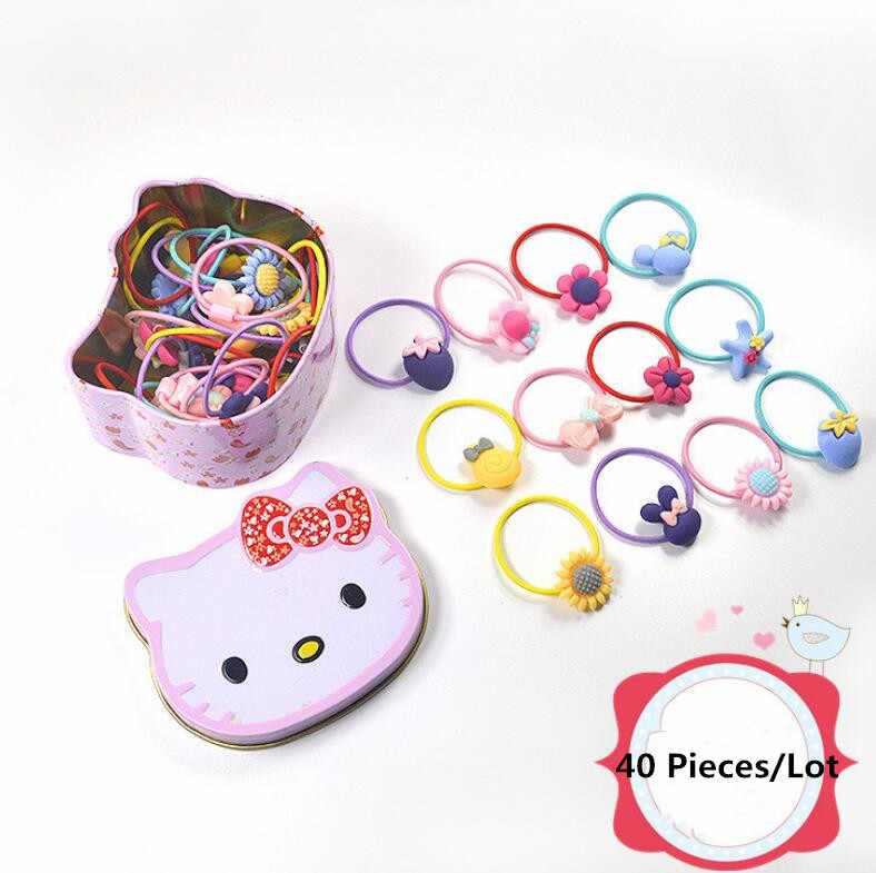Lovey Small Flower Hair Rope For Children 40 Pieces/Box Mixed Style Best Gift For Girls