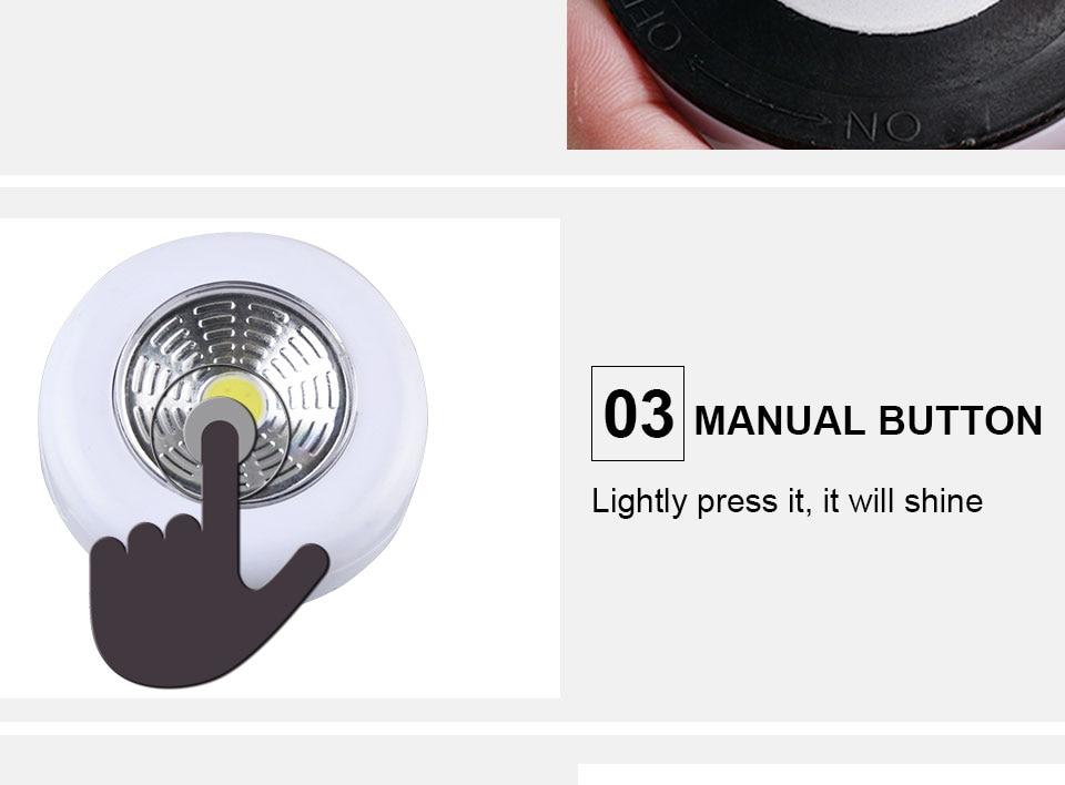 LED Novelty Lighting Wall Light Night Lights COB LED Stick Sticker Tap Touch Cabinet Wardrobe Corridor 3x AAA Batteries (7)