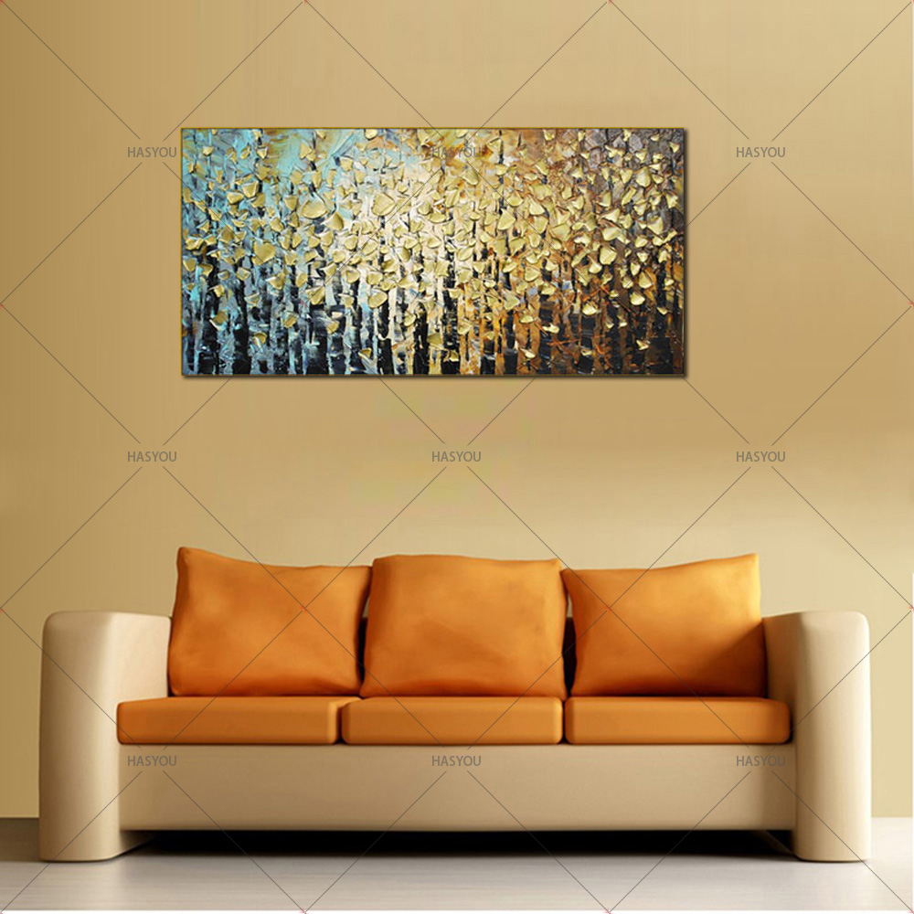 Hand painted modern home decor room hall wall art picture golden ...
