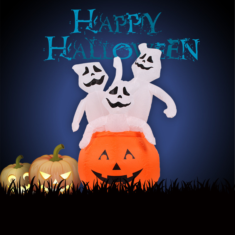 4 foot animated halloween decoration airblown inflatable pumpkin decorations with three scary ghosts with led light