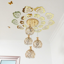 Ceiling wall sticker 3d acrylic mirror golden sliver Euporean pattern chandelier Lighting Wall decoration