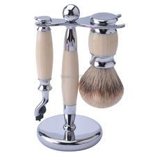 ; высококачественная искусственная цвета слоновой кости набор для бритья с акриловыми ручками Набор принадлежностей для бритья реальные кисть из серебристого барсучьего волоса